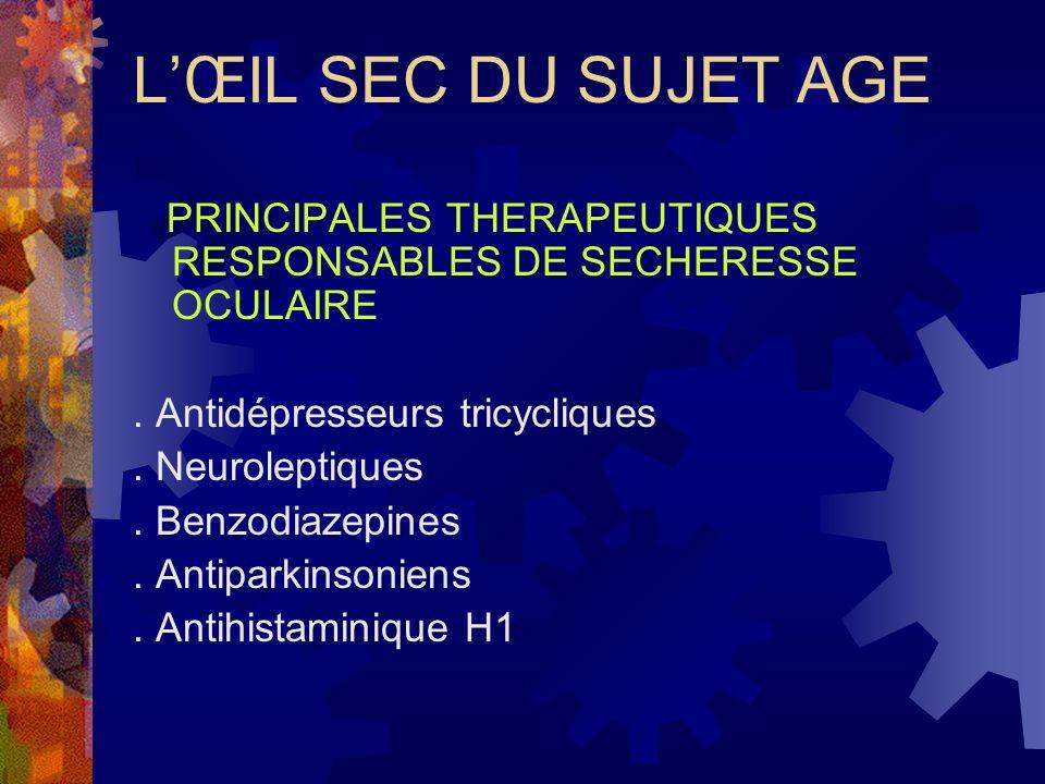 L'ŒIL SEC DU SUJET AGE PRINCIPALES THERAPEUTIQUES RESPONSABLES DE SECHERESSE OCULAIRE. . Antidépresseurs tricycliques.