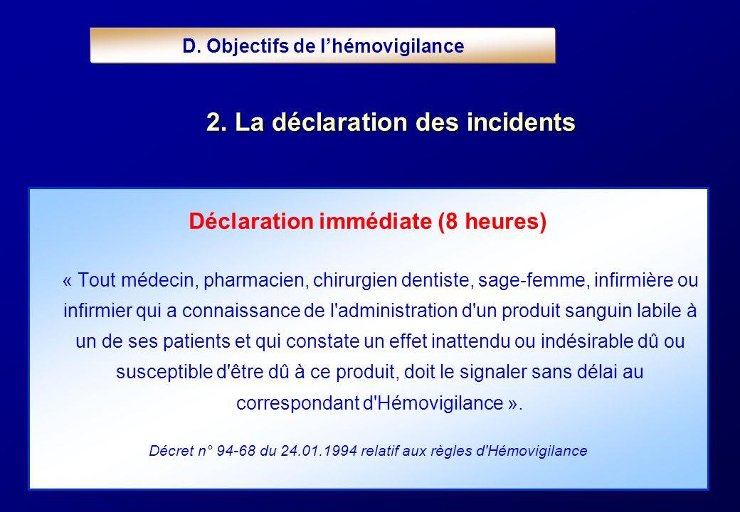 D. Objectifs de l'hémovigilance Déclaration immédiate (8 heures)