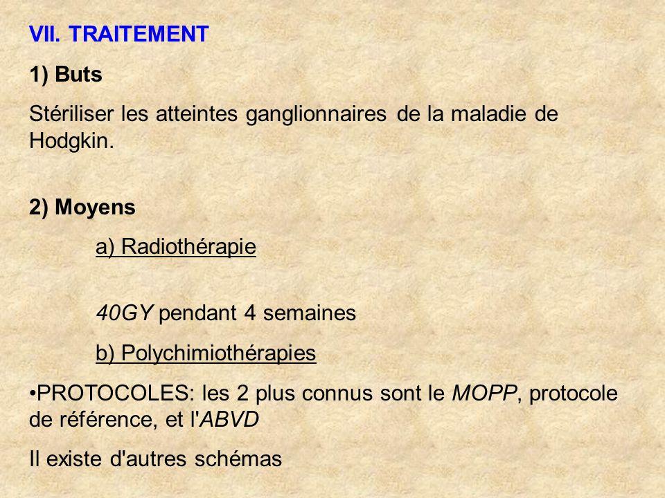 VII. TRAITEMENT 1) Buts. Stériliser les atteintes ganglionnaires de la maladie de Hodgkin. 2) Moyens.