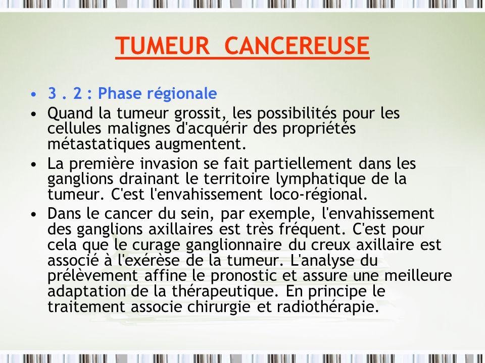 TUMEUR CANCEREUSE 3 . 2 : Phase régionale