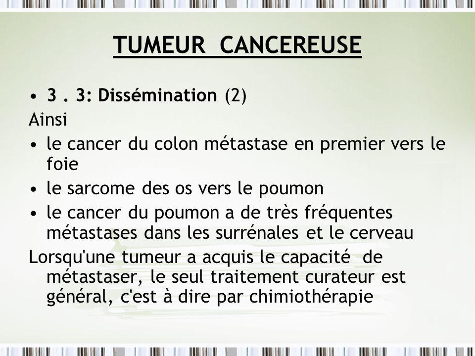 TUMEUR CANCEREUSE 3 . 3: Dissémination (2) Ainsi