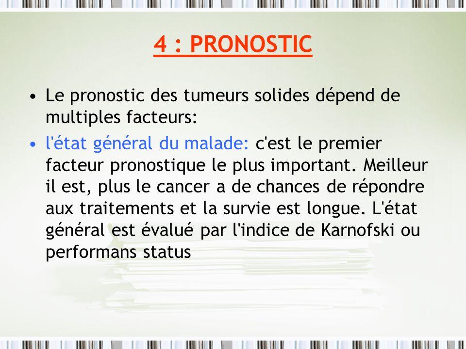 4 : PRONOSTICLe pronostic des tumeurs solides dépend de multiples facteurs: