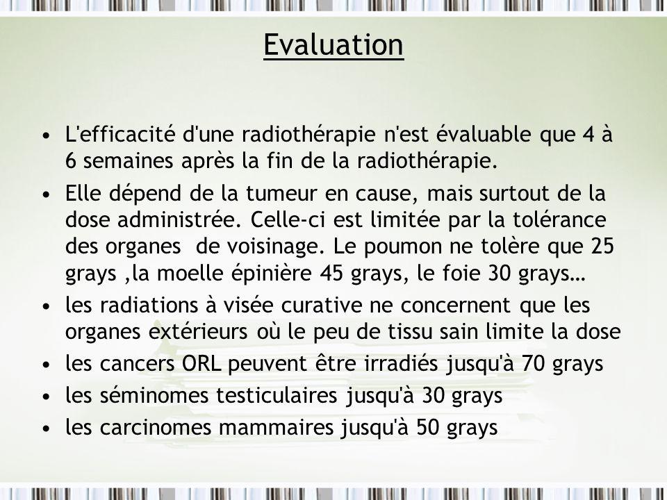 Evaluation L efficacité d une radiothérapie n est évaluable que 4 à 6 semaines après la fin de la radiothérapie.
