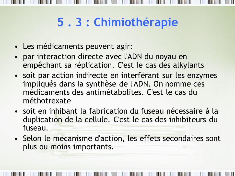 5 . 3 : Chimiothérapie Les médicaments peuvent agir: