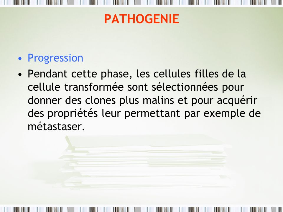 PATHOGENIE Progression