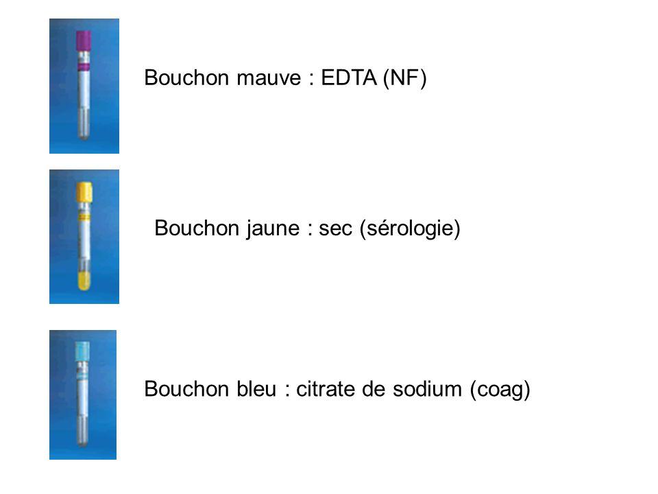 Bouchon mauve : EDTA (NF)