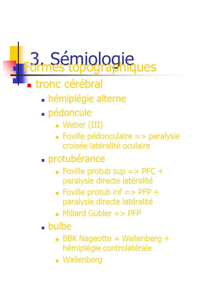 3. Sémiologie Formes topographiques tronc cérébral hémiplégie alterne