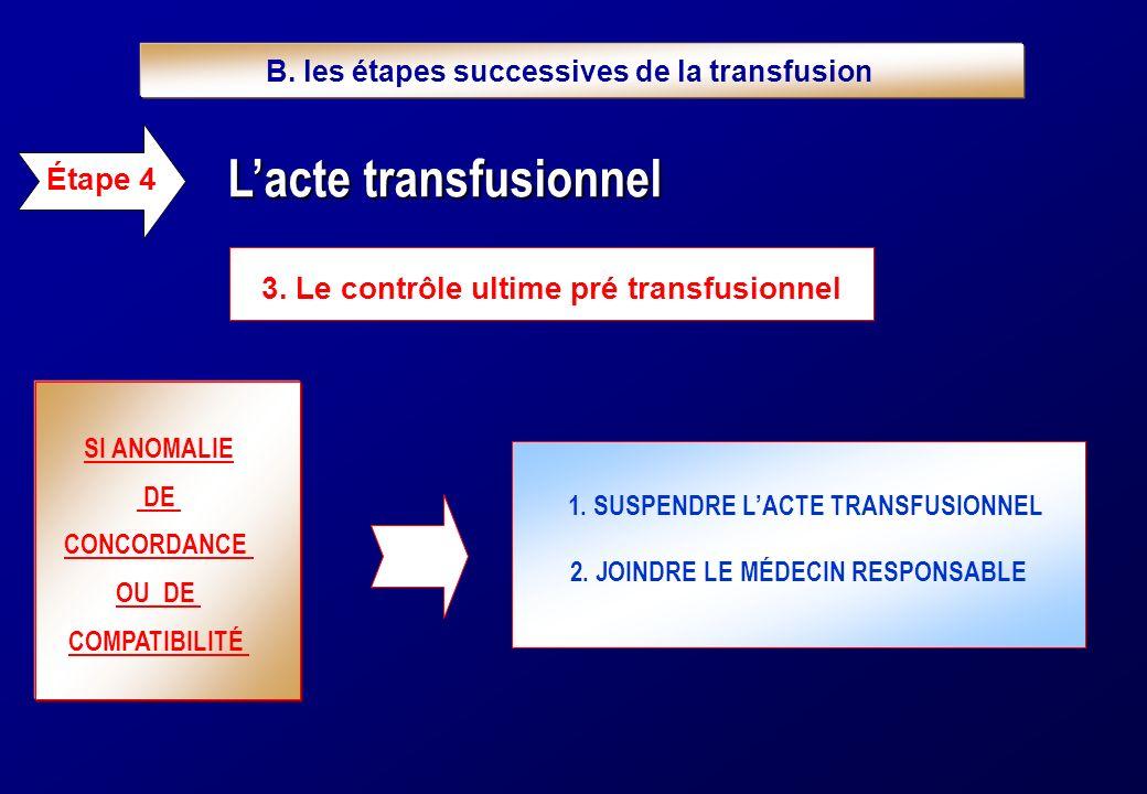 3. Le contrôle ultime pré transfusionnel