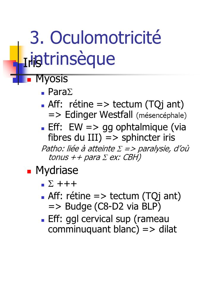 3. Oculomotricité intrinsèque