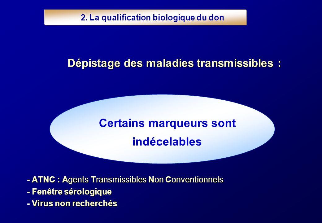 2. La qualification biologique du don Certains marqueurs sont