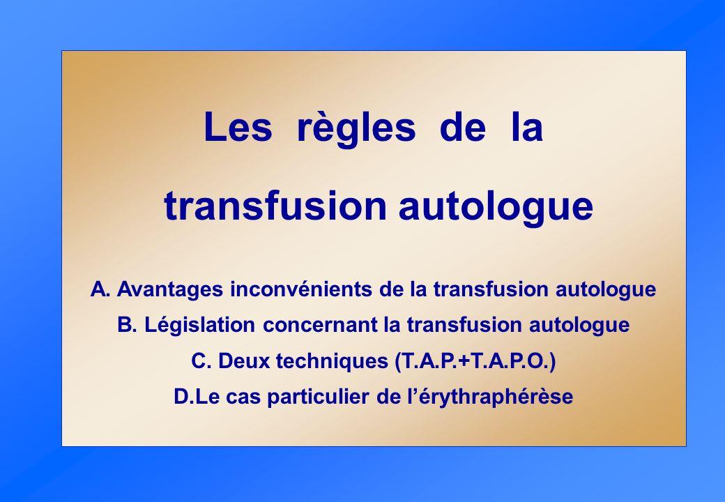 Les règles de la transfusion autologue