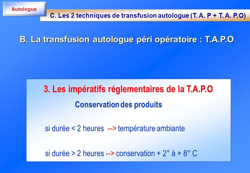 3. Les impératifs réglementaires de la T.A.P.O