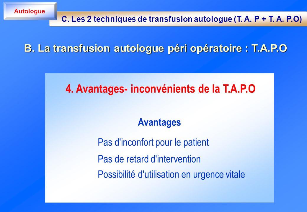 B. La transfusion autologue péri opératoire : T.A.P.O