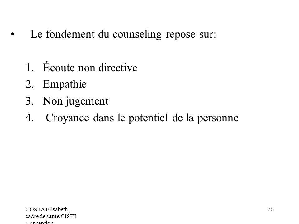 Le fondement du counseling repose sur: Écoute non directive Empathie