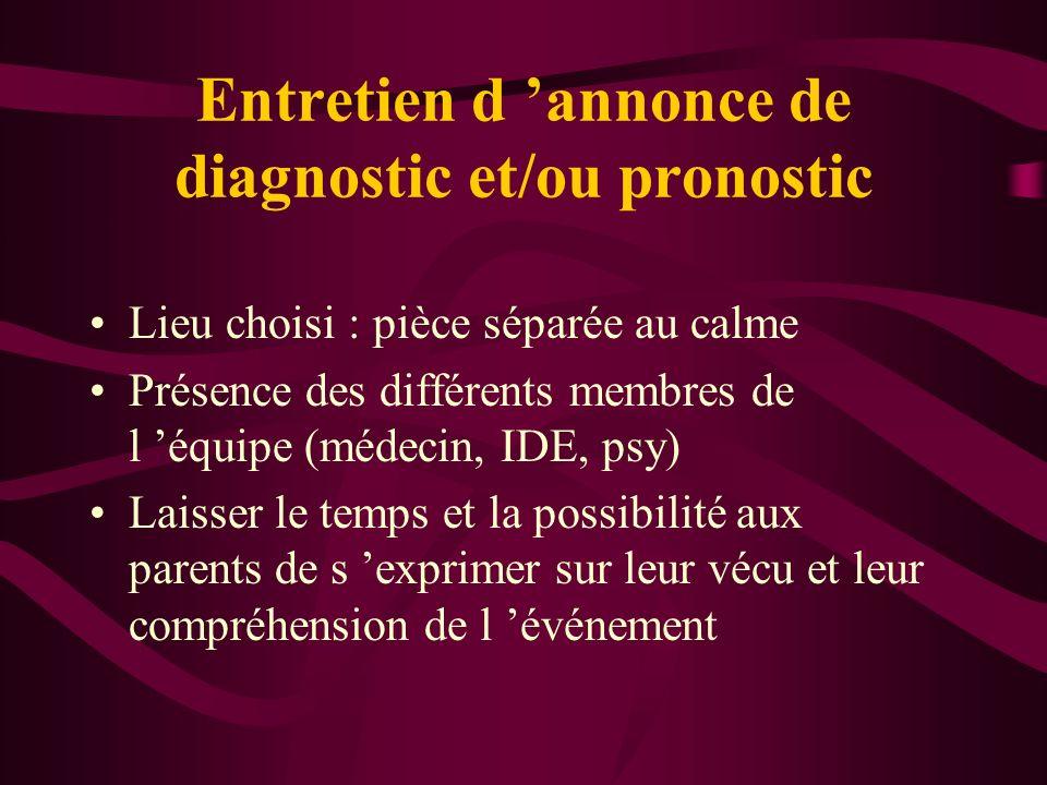 Entretien d 'annonce de diagnostic et/ou pronostic