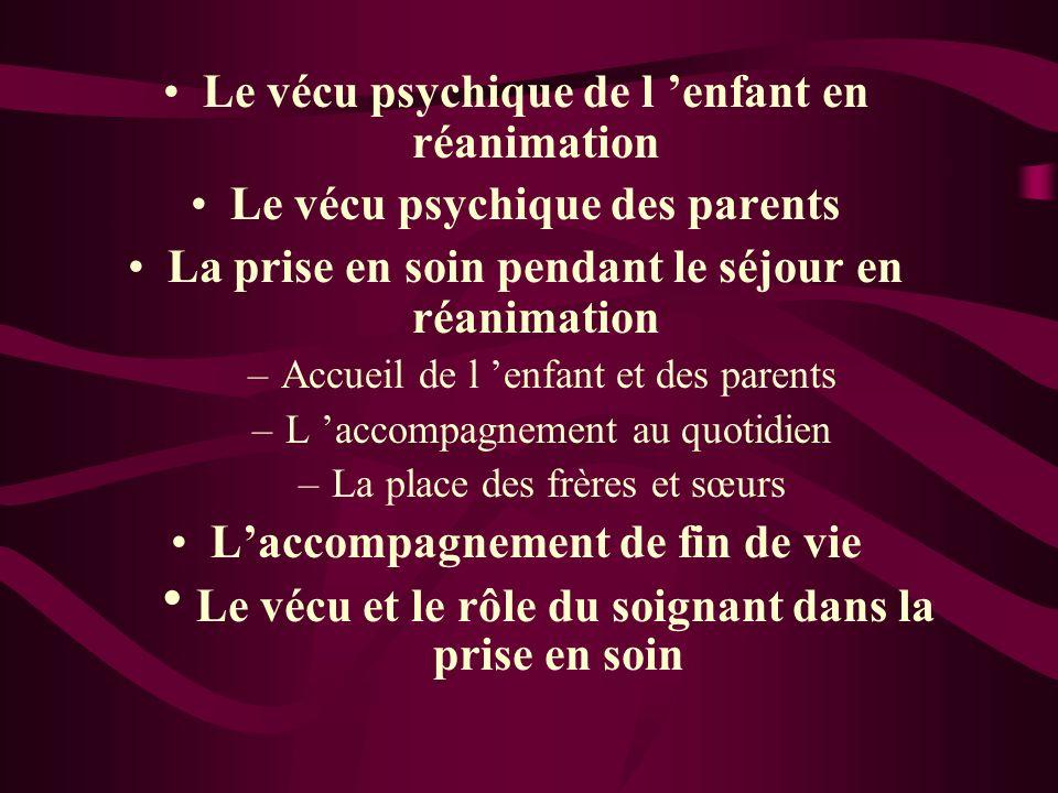 Le vécu psychique de l 'enfant en réanimation