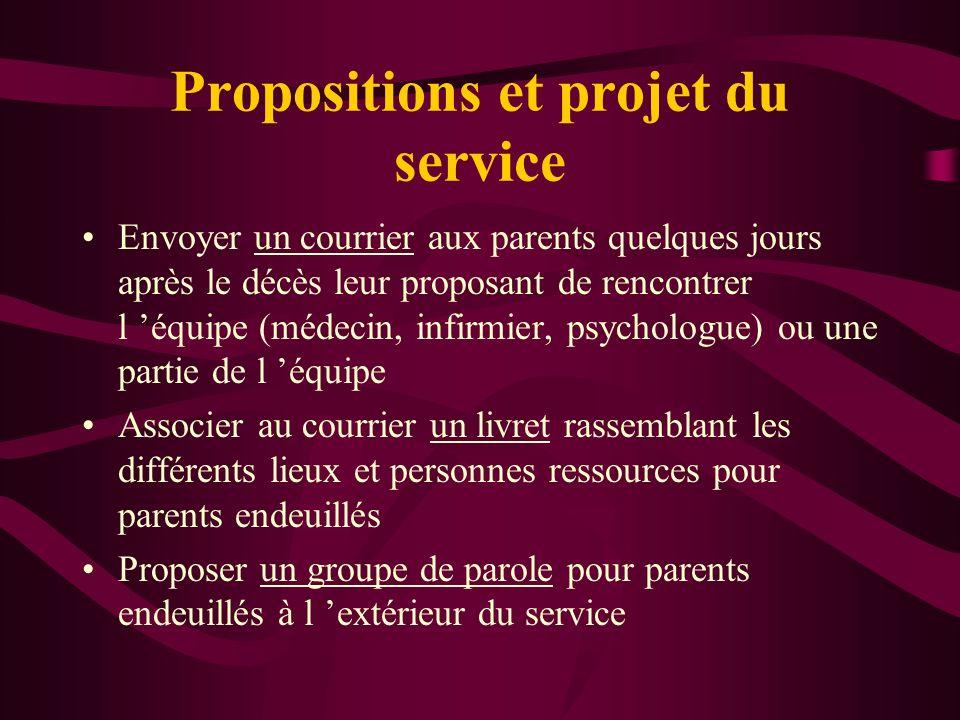 Propositions et projet du service
