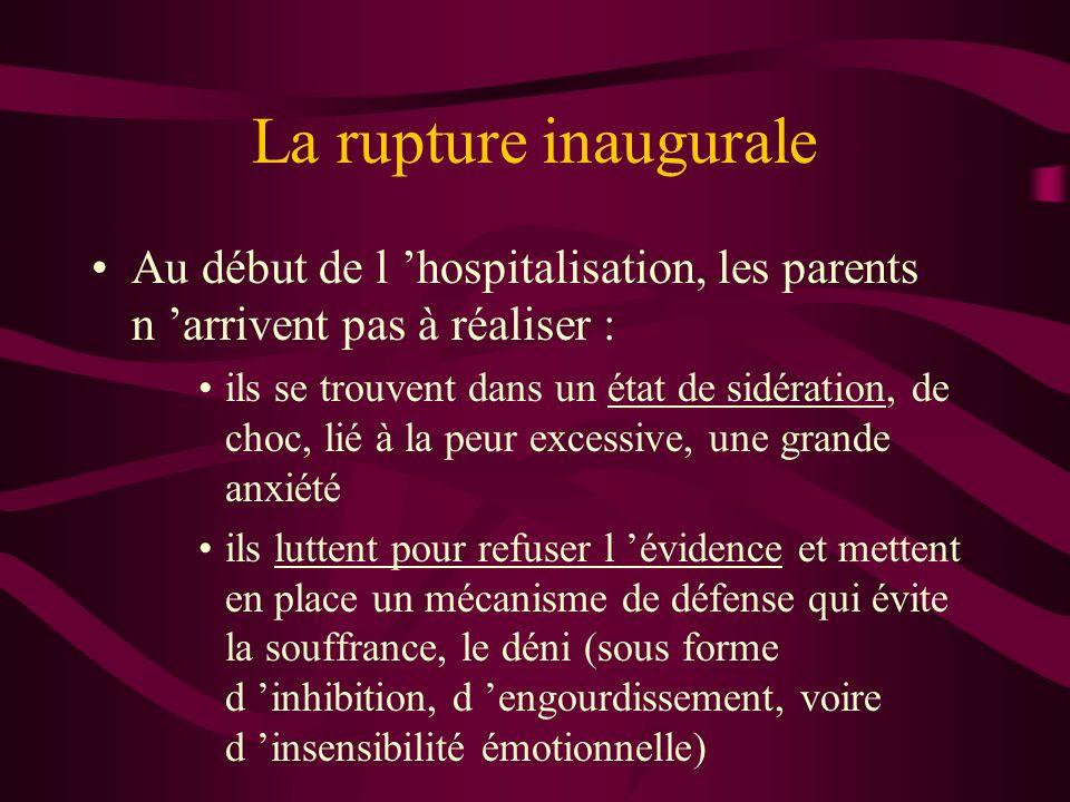 La rupture inaugurale Au début de l 'hospitalisation, les parents n 'arrivent pas à réaliser :