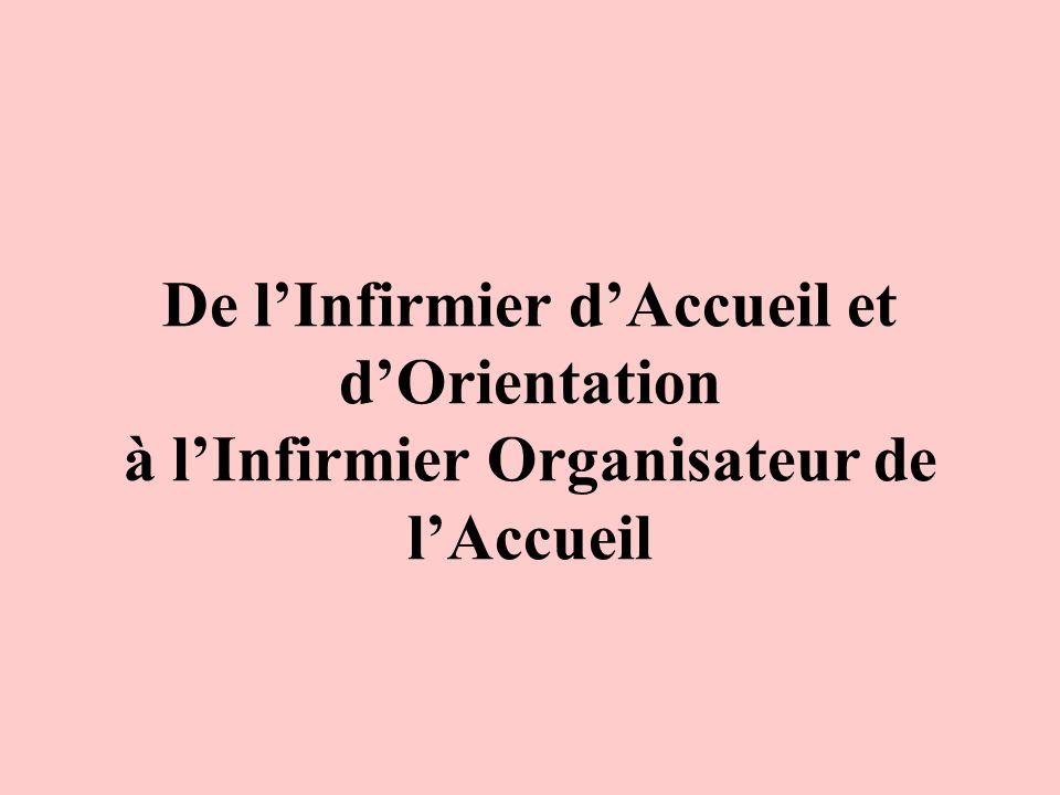 De l'Infirmier d'Accueil et d'Orientation à l'Infirmier Organisateur de l'Accueil