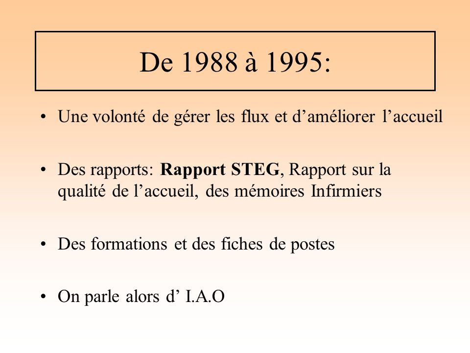 De 1988 à 1995: Une volonté de gérer les flux et d'améliorer l'accueil