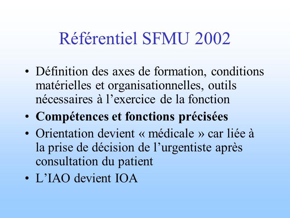 Référentiel SFMU 2002 Définition des axes de formation, conditions matérielles et organisationnelles, outils nécessaires à l'exercice de la fonction.
