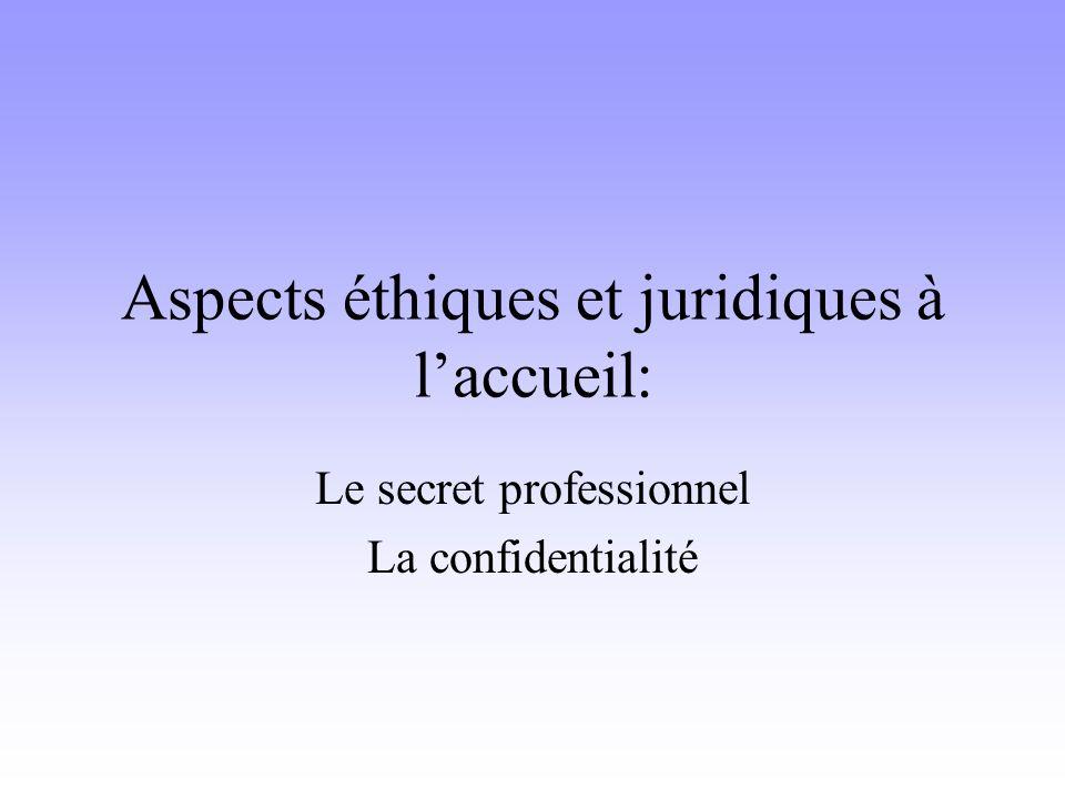 Aspects éthiques et juridiques à l'accueil: