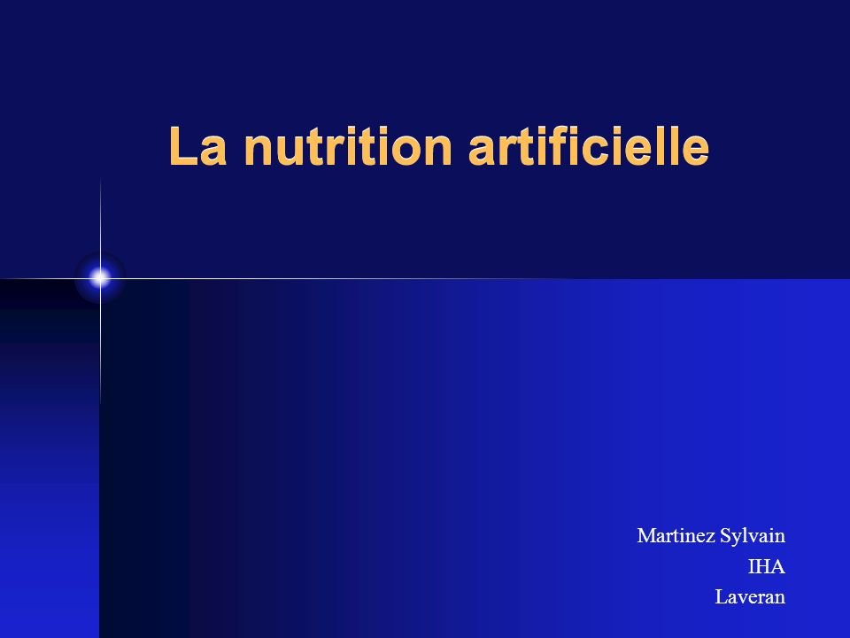 La nutrition artificielle