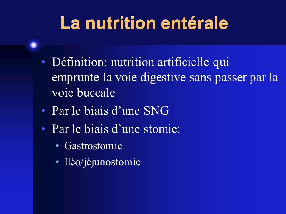 La nutrition entérale Définition: nutrition artificielle qui emprunte la voie digestive sans passer par la voie buccale.