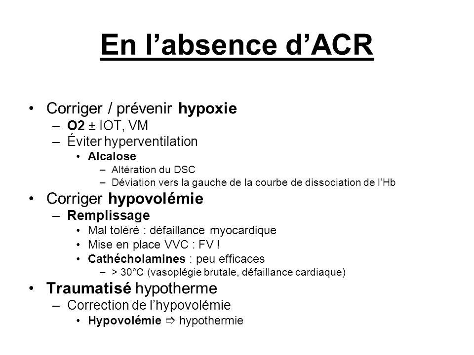En l'absence d'ACR Corriger / prévenir hypoxie Corriger hypovolémie