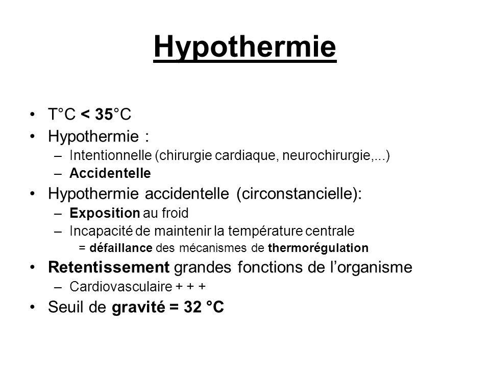 Hypothermie T°C < 35°C Hypothermie :