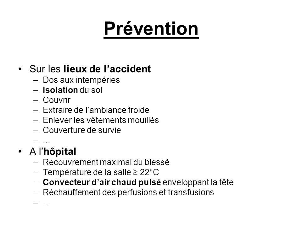 Prévention Sur les lieux de l'accident A l'hôpital Dos aux intempéries