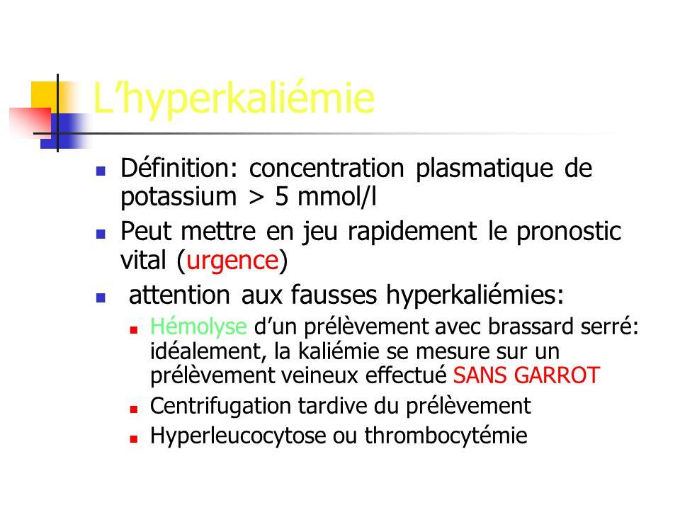 L'hyperkaliémie Définition: concentration plasmatique de potassium > 5 mmol/l. Peut mettre en jeu rapidement le pronostic vital (urgence)
