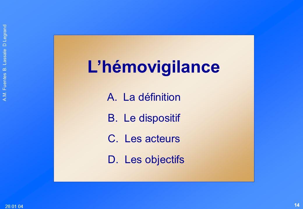 L'hémovigilance A. La définition B. Le dispositif C. Les acteurs