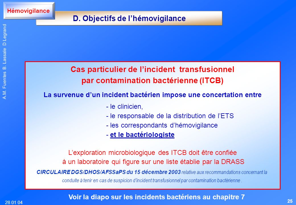 Cas particulier de l'incident transfusionnel