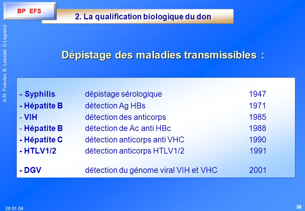 2. La qualification biologique du don