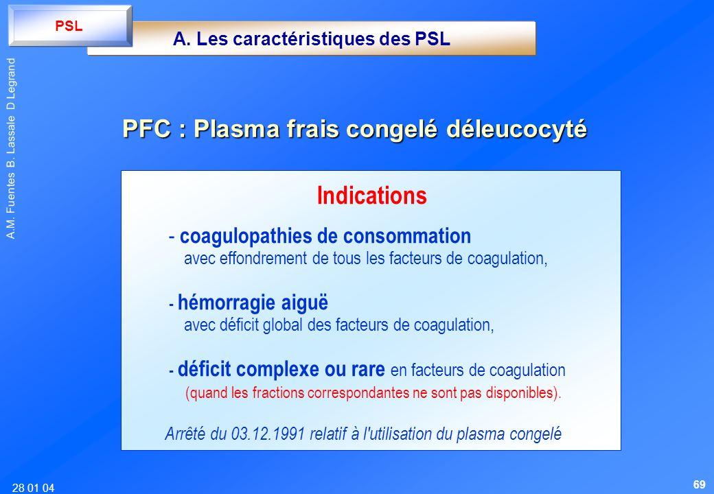 A. Les caractéristiques des PSL