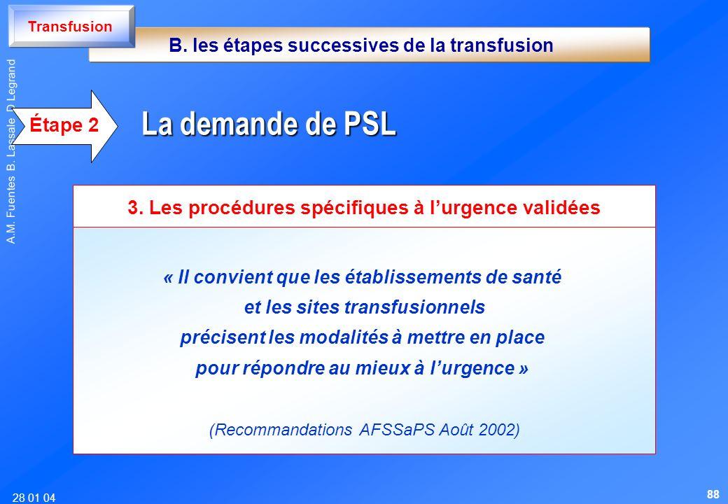 TransfusionB. les étapes successives de la transfusion. Étape 2. La demande de PSL. 3. Les procédures spécifiques à l'urgence validées.