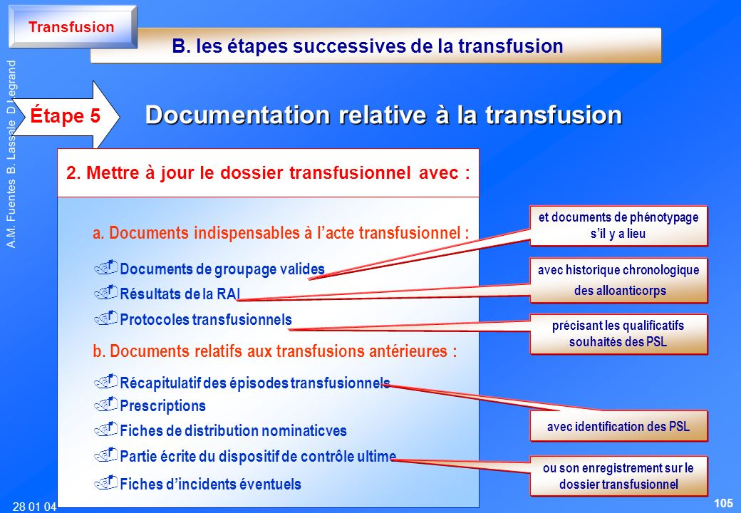 Documentation relative à la transfusion