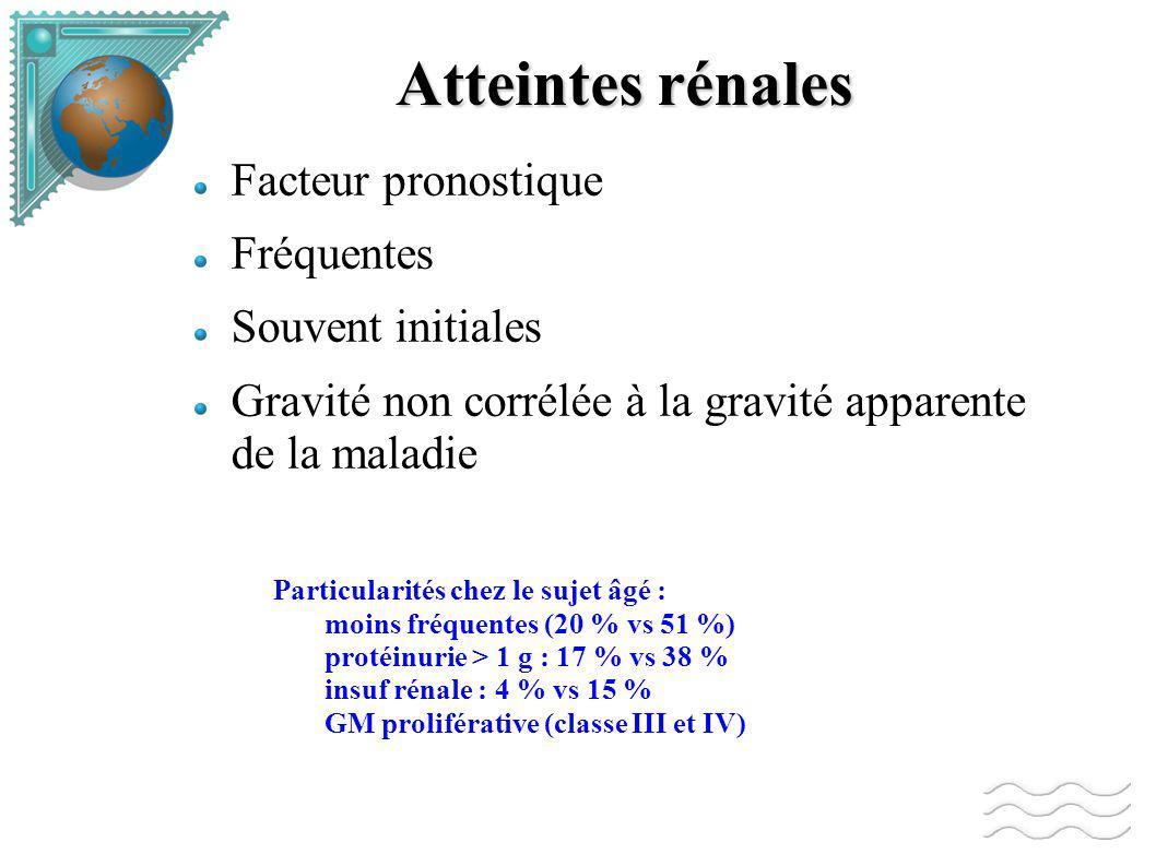 Atteintes rénales Facteur pronostique Fréquentes Souvent initiales