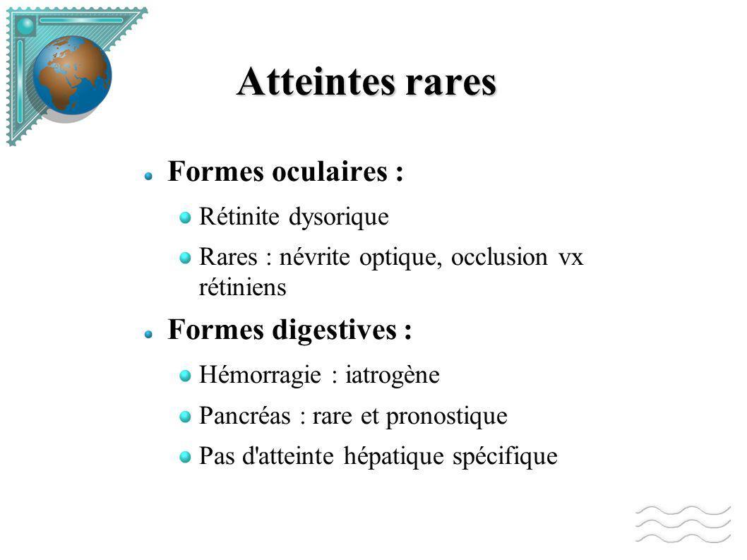 Atteintes rares Formes oculaires : Formes digestives :