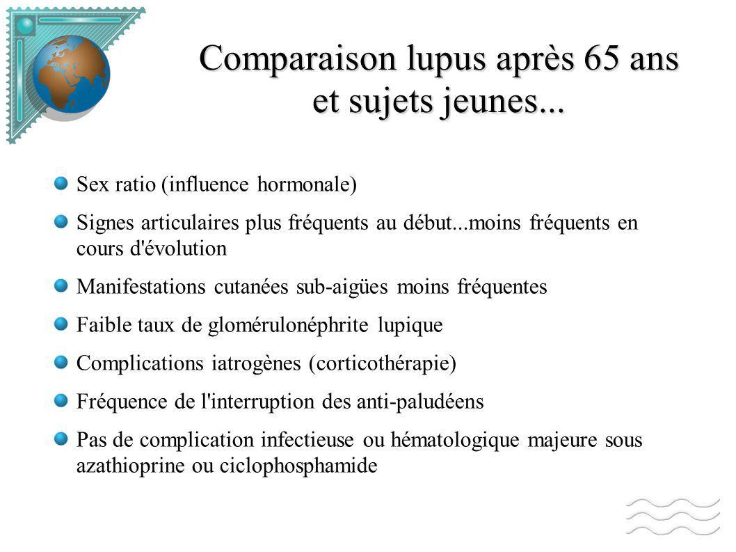 Comparaison lupus après 65 ans et sujets jeunes...