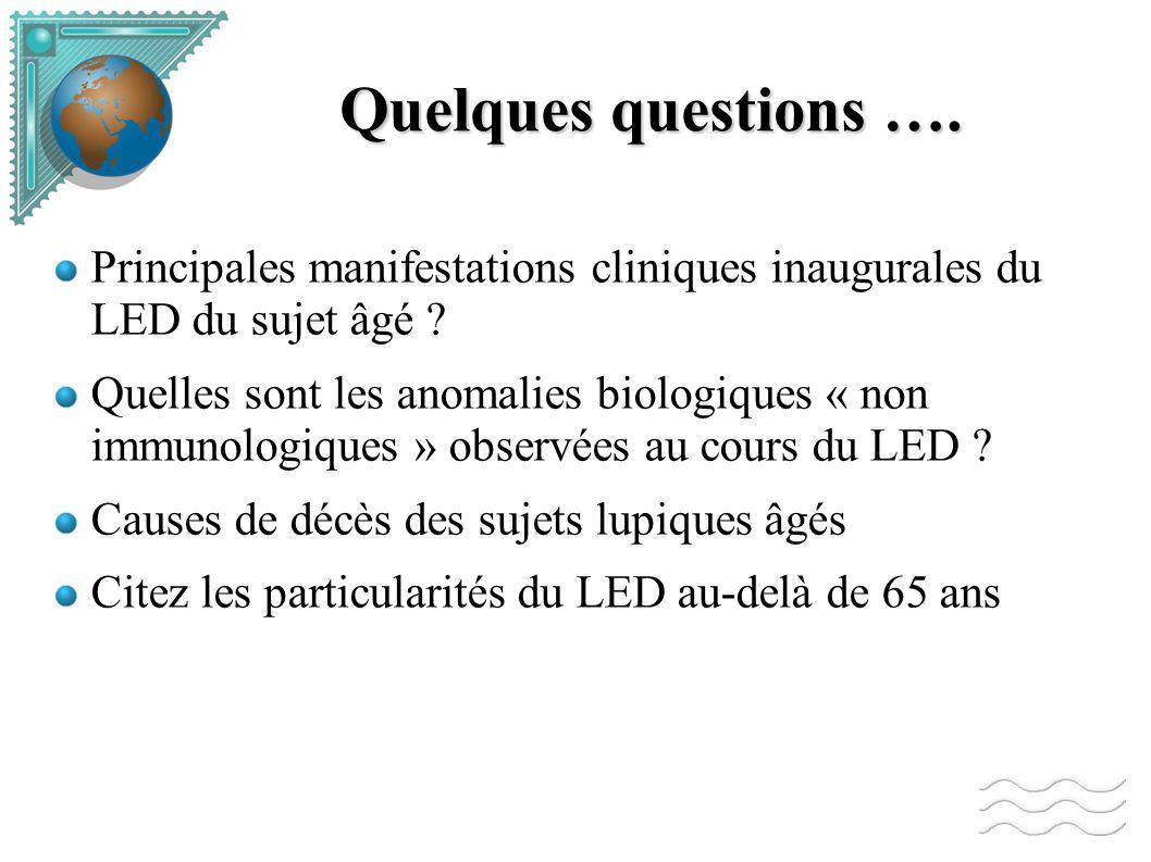 Quelques questions …. Principales manifestations cliniques inaugurales du LED du sujet âgé