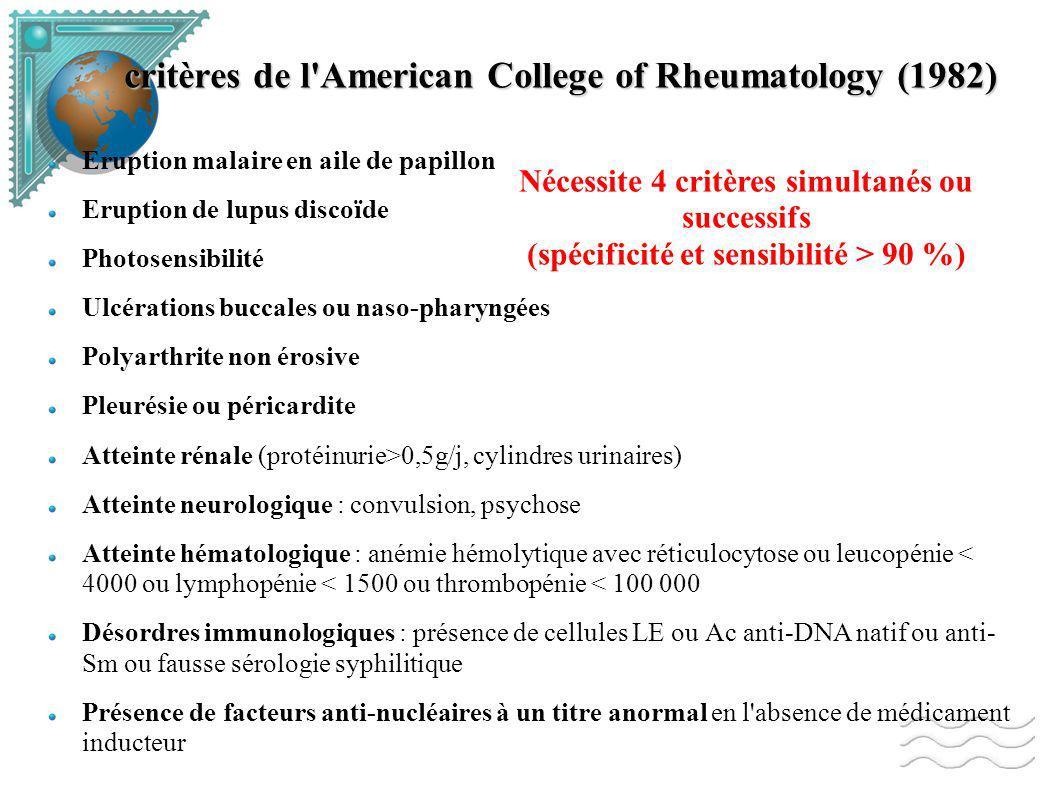 critères de l American College of Rheumatology (1982)