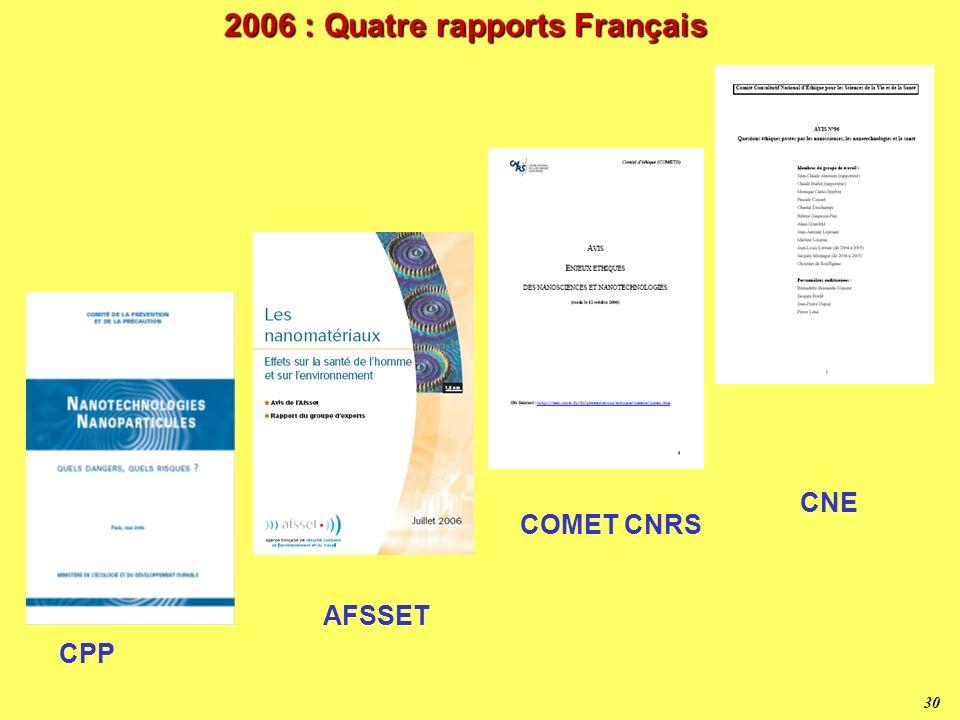2006 : Quatre rapports Français