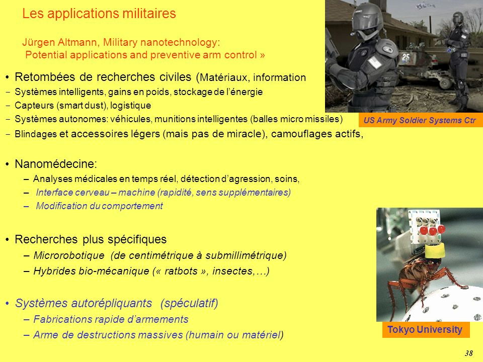 Les applications militaires Jürgen Altmann, Military nanotechnology: Potential applications and preventive arm control »
