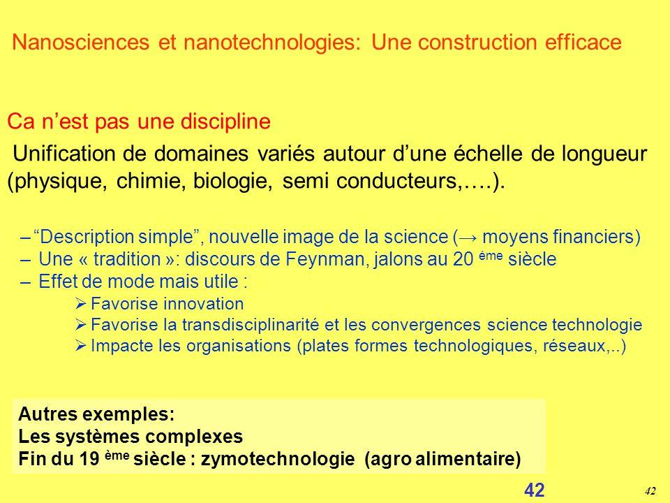 Nanosciences et nanotechnologies: Une construction efficace