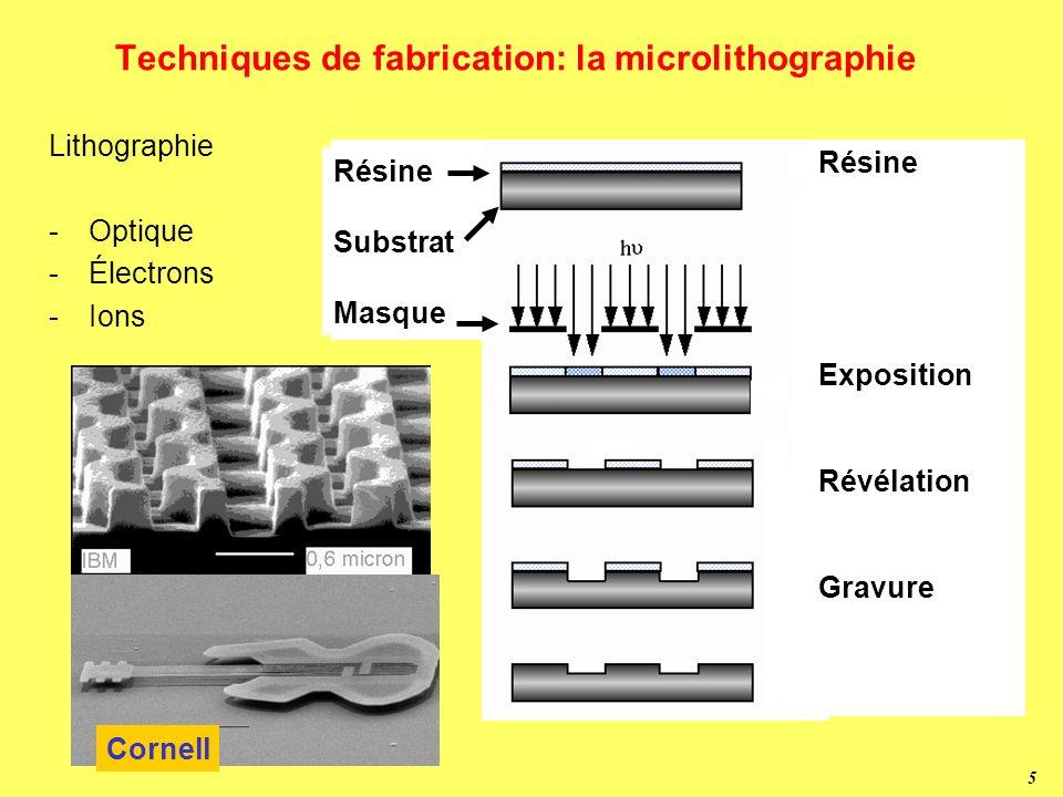 Techniques de fabrication: la microlithographie