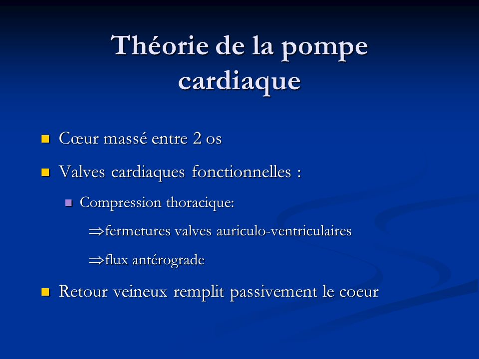 Théorie de la pompe cardiaque