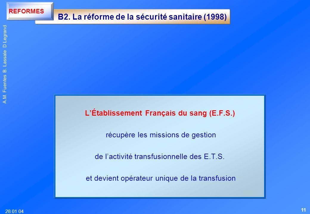 - B2. La réforme de la sécurité sanitaire (1998)