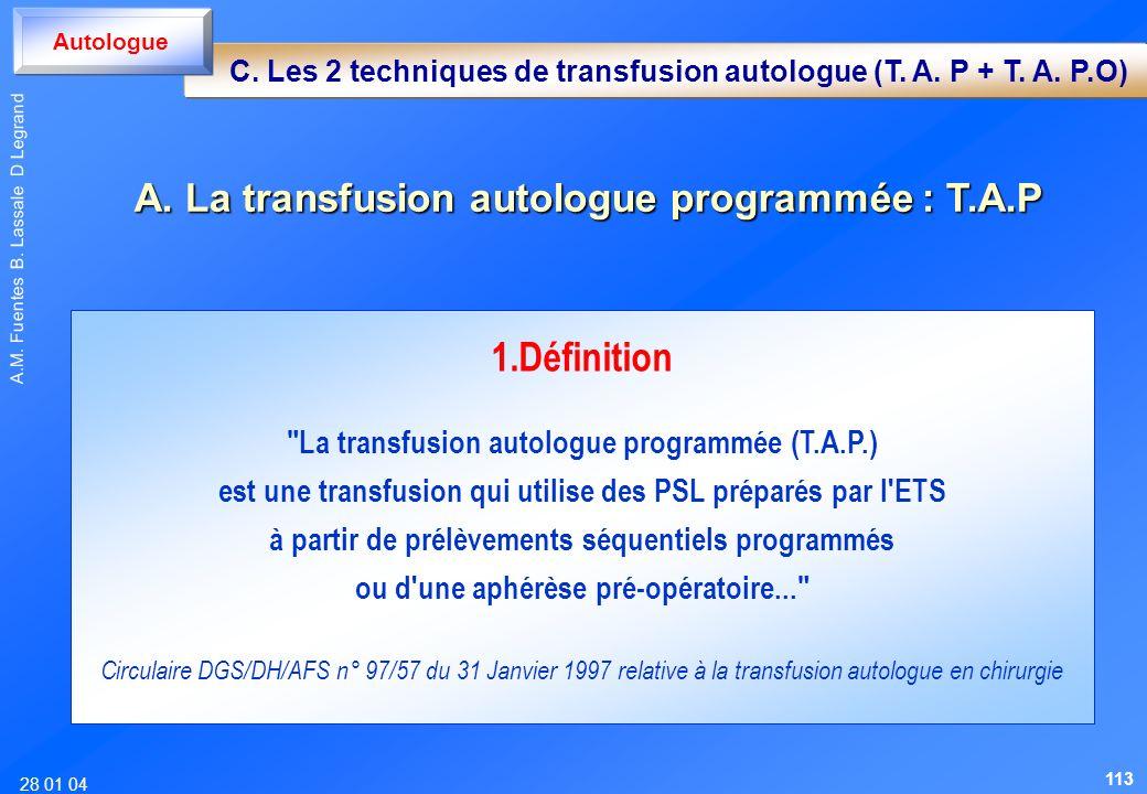 1.Définition A. La transfusion autologue programmée : T.A.P